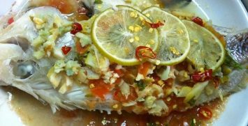 Steamed Tilapia in tangy Sauce